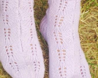 Light Purple Knitted Lace Socks mom gifts purple knitting wool socks women winter socks handmade socks women wool socks Winter Accessories