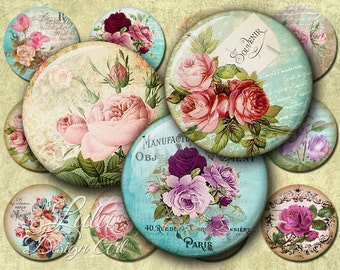 Antique Roses - Digital Collage Sheet - 2 inch Circle - Pocket Mirror Images - Printable Circles - Roses - Round Images - Digital Paper