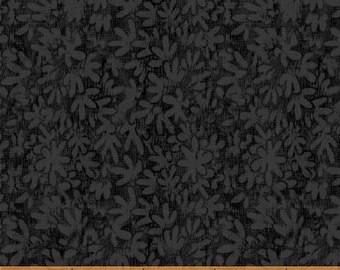 SUPER CLEARANCE! One Yard Mono Leaf in Black - Crazy For Shelburne Cotton Quilt Fabric - Windham Fabrics (W461)