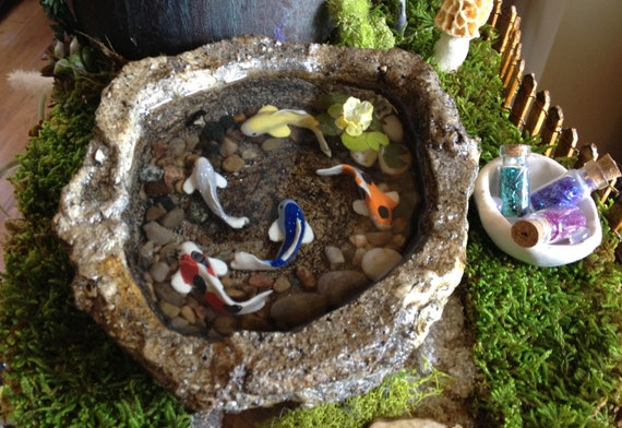 Miniature koi pond a fairy garden accessory home decor for Mini koi pond