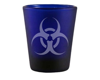Biohazard Symbol Blue Shot Glass - Hazard Symbol Shot Glass - DEEP Etched Hazard Glass - Geeky Glassed
