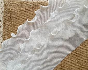 White Elastic Lace Vintage Wedding Bridal Chiffon Lace White Pleated Accordion Lace