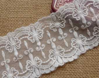 White Tulle Lace Trim, Embroidery Mesh Lace, Vintage Cross Lace Trims, 2 Yards