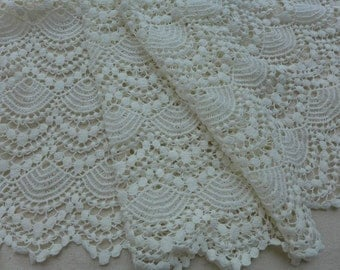 Ivory Cotton Lace Fabric, Retro Hollowed Lace, Wide Ivory Scalloped Lace Trim, Altered Couture or Home Decor