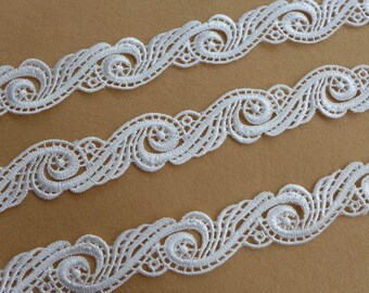 CHIC off white venice spiral floral lace trim for weddings, headband, millinery, altered couture