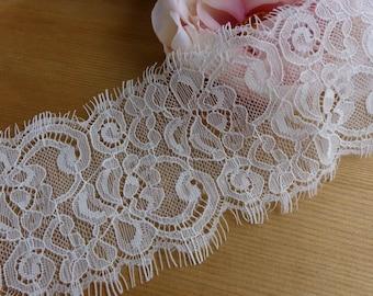 Chantilly Eyelash Lace Trim in White for Bridal Veils, Shawl, Wedding ceremony, Mantilla, Jewelry Lace