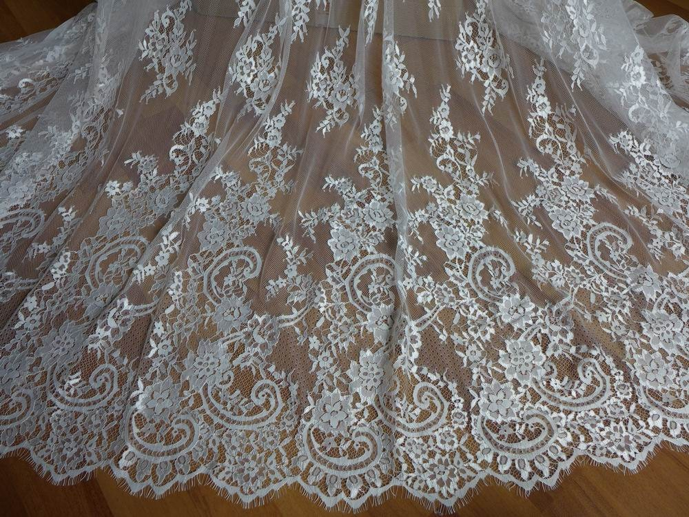 Ivory French Chantilly Lace Fabric Graceful Floral Wedding