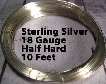 15% Off SALE!! Sterling Silver Wire, 18 Gauge, 10 Feet WHOLESALE, Half Hard, Round.