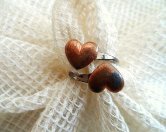 Dual HEART Ring-  Sweetheart RING- Metal Ring- Puppy Love Gift- Fun Adjustable Heart Ring- Retro Jewelry-Copper & Silver