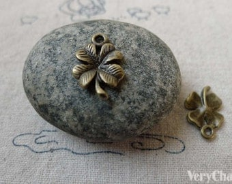 30 pcs Antique Bronze Lucky Flower Charms 10x19mm  A6484