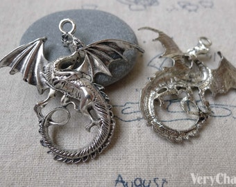 10 pcs of Antique Silver Flying Dragon Charms Pendants 43x47mm A7251