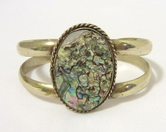 Vintage Mexican Sterling Silver Abalone Cuff Bracelet