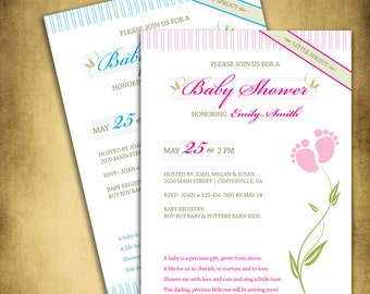 Little Sprout Baby Shower Invitation, pink for girl, digital file, 5 x 7 inches