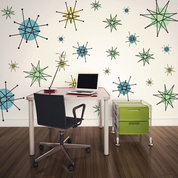 Atomic starburst 50s style wall decals sheet large 47461 for 8 sheet giant wall mural