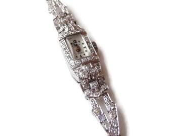 Platinum and Diamond Wrist Watch  1940s
