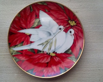 1991 Limited edition Christmas Doves Christmas Seal Plate by Maureen D Jensen