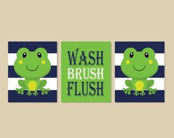 Frog Bathroom Decor, Prints Or Canvas Wall Art, Kids Bathroom Art, Wash Brush Flush, Bathroom Rules, Kids Bathroom Decor, Set of 3