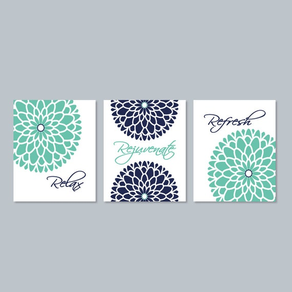 Bathroom Art Minted: Relax Rejuvenate Refresh Bathroom Art Bathroom Decor Navy Mint