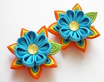 Handmade Kanzashi ladies girls hair clips bows - buy in UK, shipping worldwide-women hair accessories