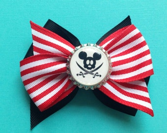Pirate Mickey for pirate night on Disney Cruise Line DCL hair bow