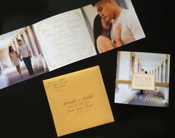 Golden Shimmer Tri-Fold Wedding Invitation