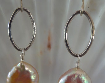 Sterling Silver Oval Wire Earrings with Wire Wrapped Coin Pearl Dangle
