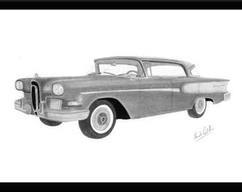 Car art drawing of a 1958 Edsel Corsair