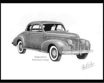 art pencil drawing of a 1939 Oldsmobile Business Coupe