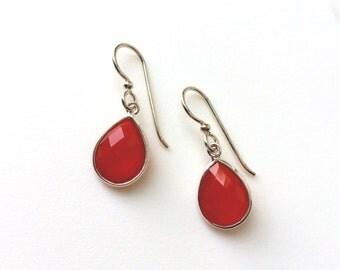 Carnelian Sterling Earrings, Sterling Drop Earrings, Teardrop, Sterling Silver Earring Wires