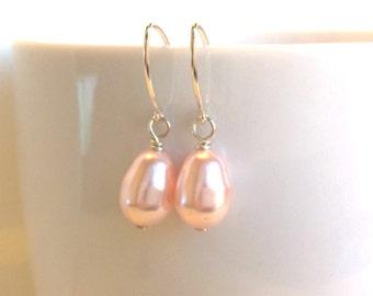 Pink Pearl Earrings, Pink Sterling Earrings, Bridesmaid Pink Earrings, Delicate Pink Silver Earrings