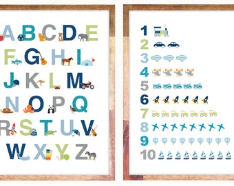 "Alphabet & Numbers Print / Posters 11x14"" or 12x16"""