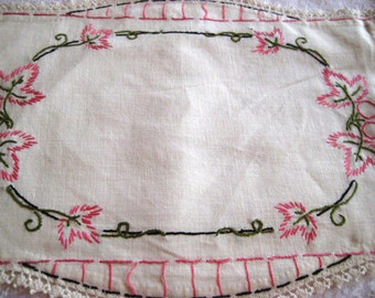 Vintage embroidered doilies, linen doilies,  pink and black doilies, set of three embroidered doilies