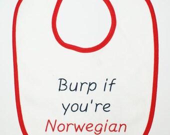 Scandinavian Embroidered Baby Bib - Burp if you're Swedish Norwegian Danish Finnish