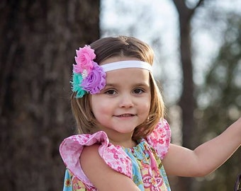 Easter aqua, pink and lilac Shabby Rosette Headband-Easter Baby Headband-Shabby Chic Flower Headband-Baby Girl Headband