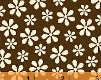Windham Fabrics Teddy Bear Basics 29399T-26 Cream Small Daisy on Brown Yardage