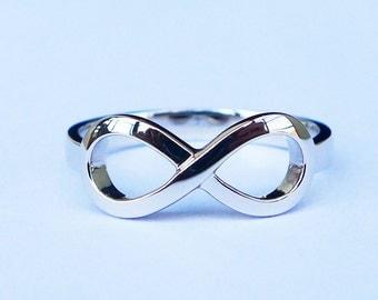 Solid 9K Platinum Infinity FriendShip Ring
