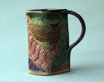 Hand-built Stoneware Owl Mug