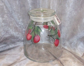 Hand painted, Pop Belly Red Cherries Kitchen Canister