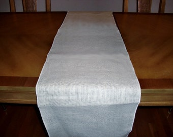 "14"" x 108"" White Burlap Table Runner (Serged edges)"