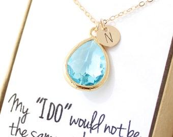Aqua Blue / Gold Teardrop Necklace - Aquamarine Bridesmaid Necklace - Bridesmaid Gift Jewelry - Aqua and Gold Necklace - NB1