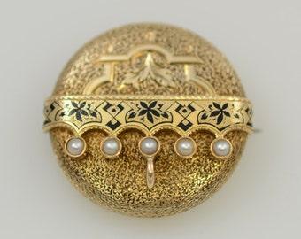Edwardian 14K Gold Watch Holder Brooch/Pendant with Pearls & Enamel