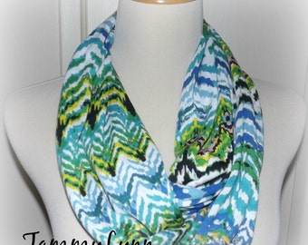 Turquoise Aqua Royal Blue Green Chevron Infinity Scarf Jersey Knit Women's Accessories