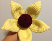 Grace - Giant Crochet Flower with a Crimson Centre surrounded by Lemony Petals with Apple Green Stem