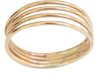 14k gold four band thumb ring, finger ring size 6