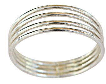 Sterling silver 4 bands 1mm thin thumb ring