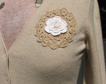 Cashmere Cardigan/ Sweater - Crocheted Flower - Repurposed Cashmere