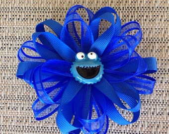 Cookie monster inspired hairclip or headband