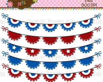40% Off! Patriotic Bunting Digital Art Instant Download