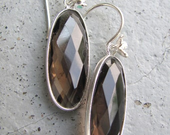 SALE Smoky Quartz Earrings with Sterling Silver / Smokey Quartz / Sterling Silver Earrings