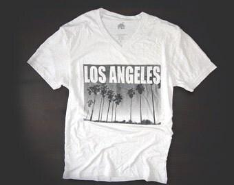 T Shirt Urban V Neck Los Angeles in White